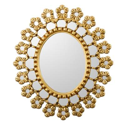 Gold Toned Floral Wall Mirror