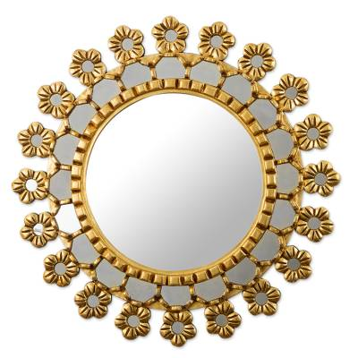 Floral Motif Wood Wall Mirror