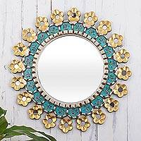 Reverse-painted glass and wood mirror, 'Cusco Garden' - Hand Painted Wall Mirror with Bronze Leaf