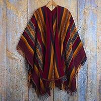 100% alpaca ruana, 'Sacred Valley Heritage' - Colorful Backstrap Handwoven Alpaca Ruana Cape