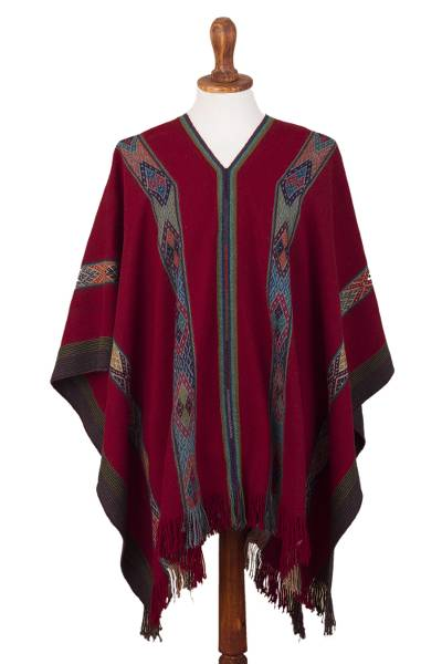 Backstrap Handwoven Baby Alpaca Poncho in Ruby Red
