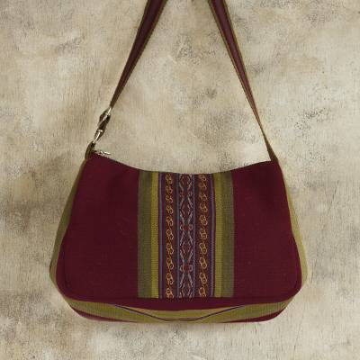 100% alpaca shoulder bag, 'Andean Prairie' - Backstrap Handwoven Red and Olive Alpaca Shoulder Bag
