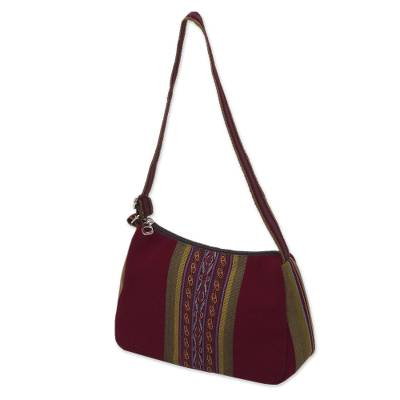 Backstrap Handwoven Red and Olive Alpaca Shoulder Bag