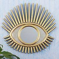 Wood and glass wall mirror, 'Sun's Glance' - Eye Shaped Wall Accent Mirror