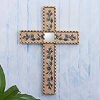 Reverse-painted glass wall cross, 'Flowers of Faith in Beige' - Handmade Glass Wall Cross with Floral Motifs