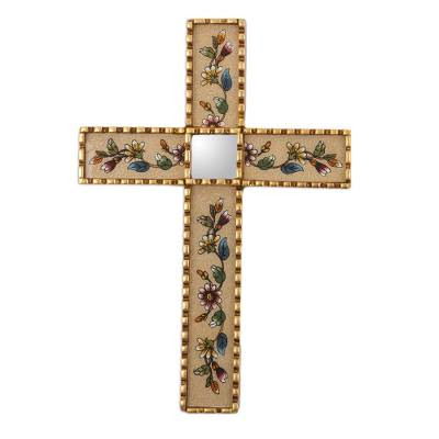 Handmade Glass Wall Cross with Floral Motifs