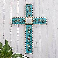 Reverse-painted glass wall cross, 'Flowers of Faith in Teal' - Hand Painted Glass and Wood Wall Cross