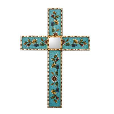 Hand Painted Glass and Wood Wall Cross