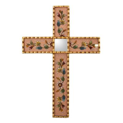 Bronze Leaf Accented Floral Wall Cross