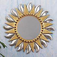 Wood wall mirror, 'Sun Corona' - Aluminum and Bronze Leaf Sun Wall Mirror