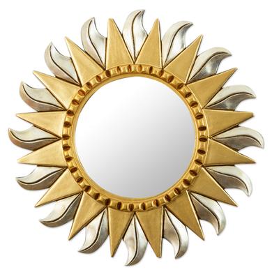 Aluminum and Bronze Leaf Sun Wall Mirror
