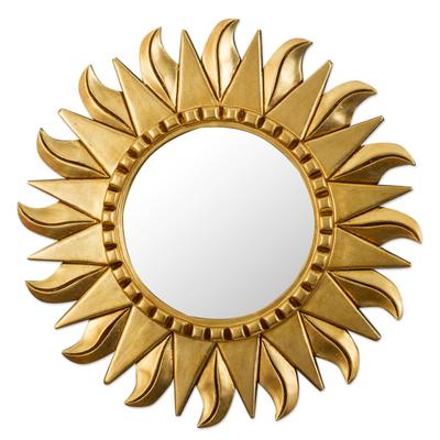 Wood wall mirror, 'Sun Center' - Round Wood and Bronze Leaf Sun Wall Mirror