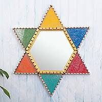 Wood and glass wall mirror, 'Colorful Star of David' - Hand Painted Star of David Wall Mirror