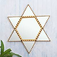 Wood and glass wall mirror, 'Star of David - Bronze Leaf Finished Star of David Mirror