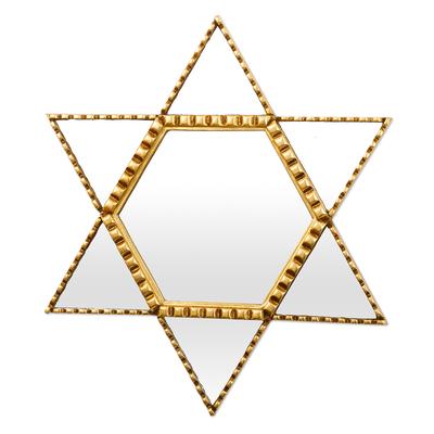 Bronze Leaf Finished Star of David Mirror