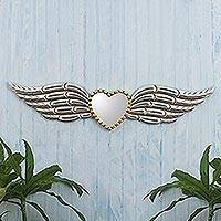 Wood and glass wall mirror, 'Winged Heart' - Hand Crafted Wood Winged Heart Wall Mirror