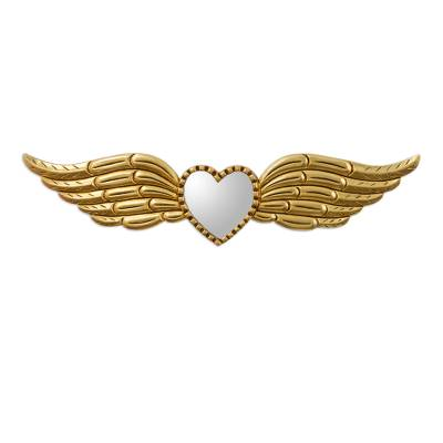 Wood and glass wall mirror, 'Winged Heart of Gold' - Bronze Leaf Finished Winged Heart Wall Mirror