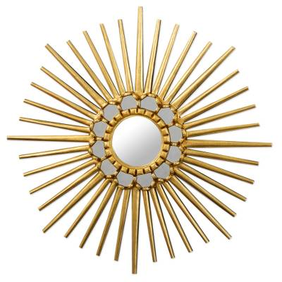 Hand Crafted Wood Wall Mirror with Sun Motif