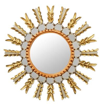 Wood and glass wall mirror, 'Cusco Corona' - Metallic Finish Wall Mirror from Peru