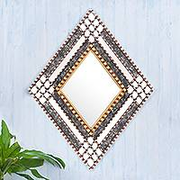 Glass and wood wall mirror, 'Diamond Drama' - Diamond-Shaped Wall Accent Mirror