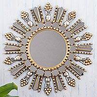 Wood and glass wall mirror, 'Colonial Splendor'