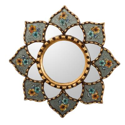 Bronze Leaf Accented Small Wall Mirror
