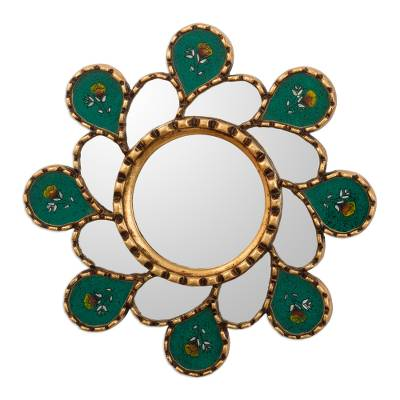 Emerald Green Reverse-Painted Glass Wall Mirror