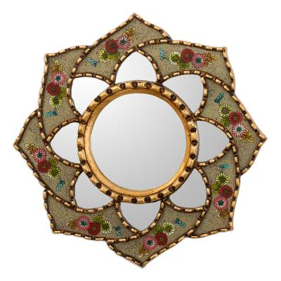 Floral Reverse-Painted Glass Accent Mirror