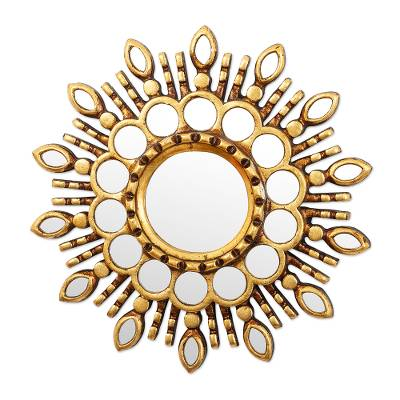 Gold Toned Wall Accent Mirror from Peru