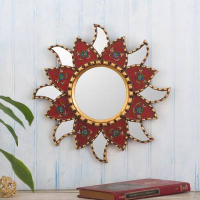 Reverse-painted glass wall accent mirror, 'Chili Star' - Small Red Glass Wall Accent Mirror