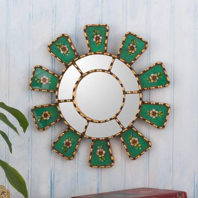 Reverse-painted glass wall accent mirror, 'Emerald Wheel' - Small Emerald Green Wall Accent Mirror