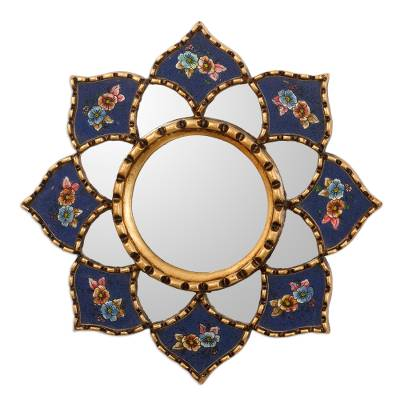 Blue Hand painted Glass and Bronze Leaf Mini Accent Mirror