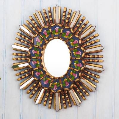 Reverse-painted glass wall accent mirror, 'Cantuta Flower' - Hand Crafted Glass and Wood Wall Mirror