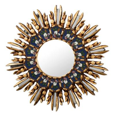Blue and Gold Tone Floral Wall Accent Mirror