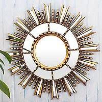 Wood and glass wall accent mirror, 'Light of Hope' - Gilded Wall Accent Mirror