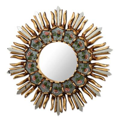 Floral Themed Wall Accent Mirror from Peru