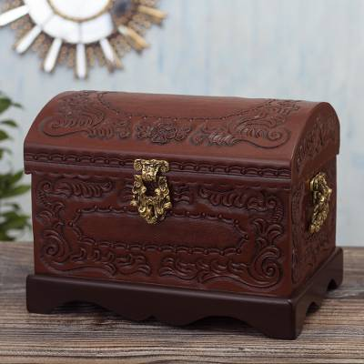 Tooled leather jewelry chest, 'Old Memories' - Hand Tooled Leather Covered Jewelry Chest
