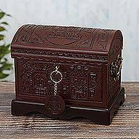 Tooled leather jewelry chest, 'Tumi Coffer' - Pre-Columbian Themed Leather Jewelry Chest