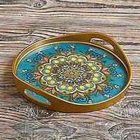 Reverse-painted glass tray, 'Creative Mandala' - Hand Painted Glass Serving Tray with Mandala Motif