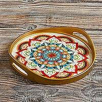 Reverse-painted glass tray, 'Healing Mandala' - Artisan Crafted Reverse-Painted Glass Tray