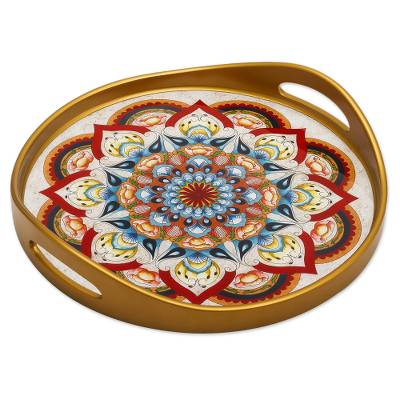 Artisan Crafted Reverse-Painted Glass Tray