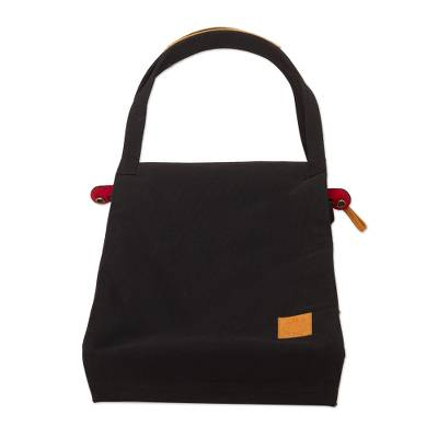 Black Canvas Tote Bag with Leather Accents