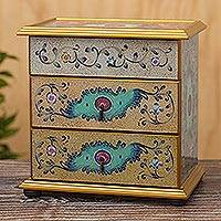 Reverse-painted glass jewelry chest, 'Subtle Splendor' - Hand Crafted Reverse-Painted Glass Jewelry Chest