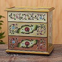 Reverse-painted glass jewelry chest, 'Colonial Splendor' - Artisan Crafted Glass and Wood Jewelry Chest