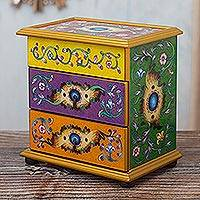 Reverse-painted glass jewelry chest, 'Cajamarca Splendor' - Multicolored Reverse-Painted Glass Jewelry Chest