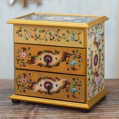 Reverse-painted glass jewelry chest, 'Earth Splendor' - Earth-Toned Reverse Painted Glass Jewelry Chest