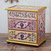 Reverse-painted glass jewelry chest, 'Dawn Splendor' - Small Hand Painted Glass Jewelry Chest
