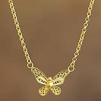 Gold-plated filigree pendant necklace, 'Magnificent Butterfly' - Butterfly Gold Plated Filigree Necklace
