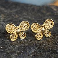 Gold-plated filigree button earrings, 'Radiant Butterfly' - 18k Gold Plated Butterfly Earrings