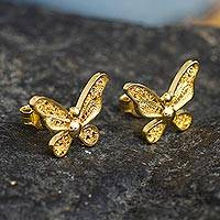 Gold-plated filigree button earrings, 'Magnificent Butterfly' - 18k Gold Plated Butterfly Button Earrings